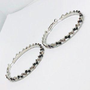 New!Black & Clear Rhinestones Hoop Earrings Silver